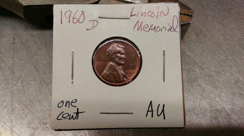 1960 D Lincoln Memorial Penny  Old American coin  Very nice