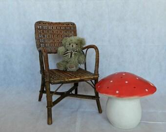 Petit fauteuil vintage enfant en rotin