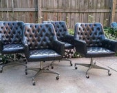 Mid Century Black Leather Swivel Executive Chairs by B.L. Marble Furniture Co.