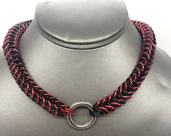 Custom Aluminum 1/4 Box Weave Chainmaille Pup Collar