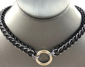 Anodized Aluminum & Rubber 3-1 Half Persian Chainmaille Collar