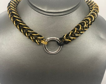 Aluminum Box Weave Chainmaille Collar