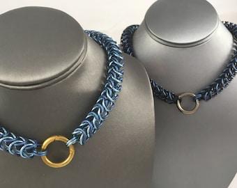 Aluminum & Titanium Box Weave Chainmaille Collar
