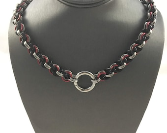 Double Spiral Chainmaille Collar w/Push Gate Clasp