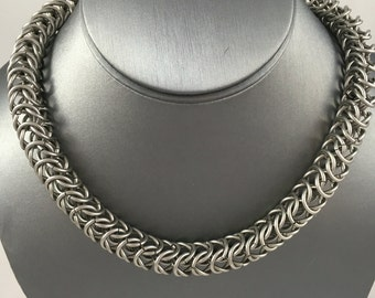 Stainless Steel Box Weave Chainmaille Necklace