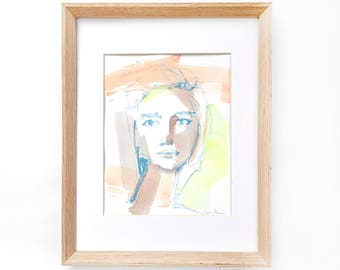Original watercolor face, portrait of a woman, abstract art, colorful art, gifts for her, original art, profile, feminine,