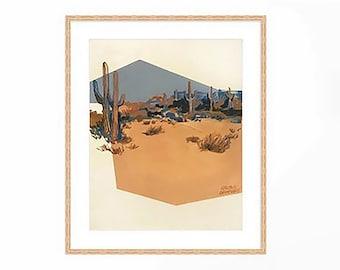 Print of Denim and Whiskey Desert.  Desert painting, Joshua tree, cactus painting, minimalist art, geometric art, abstract art