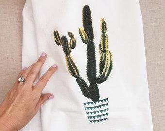 Cactus cotton Tea Towel, Hostess Gift. Dish towel, cotton hand towel, Flour Sack Towel, teacher's gift kitchen decor, desert style, boho