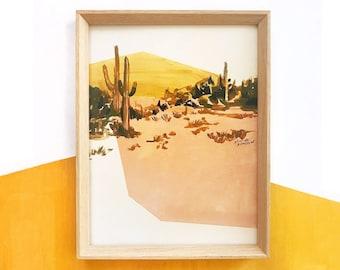 Print of Pink and Mustard Desert.  Desert painting, Joshua tree, cactus painting, blush, mustard, minimalist, geometric art, abstract art