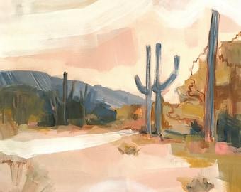 Desert scene print, blush pink desert painting, print of original art joshua tree, desert vibes, cactus painting, cactus art