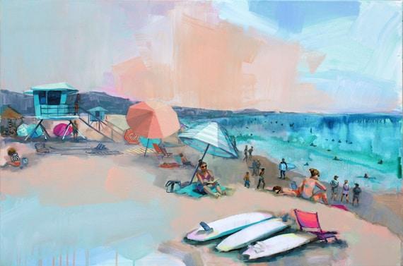 print of peachy doheny beach scene acrylic painting colorful etsy