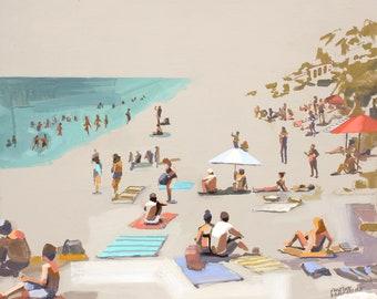 Carefree Coast Print, Beach Scene Painting, California Beach, beach art, California Art, Print of original art, fine art print, beach Print