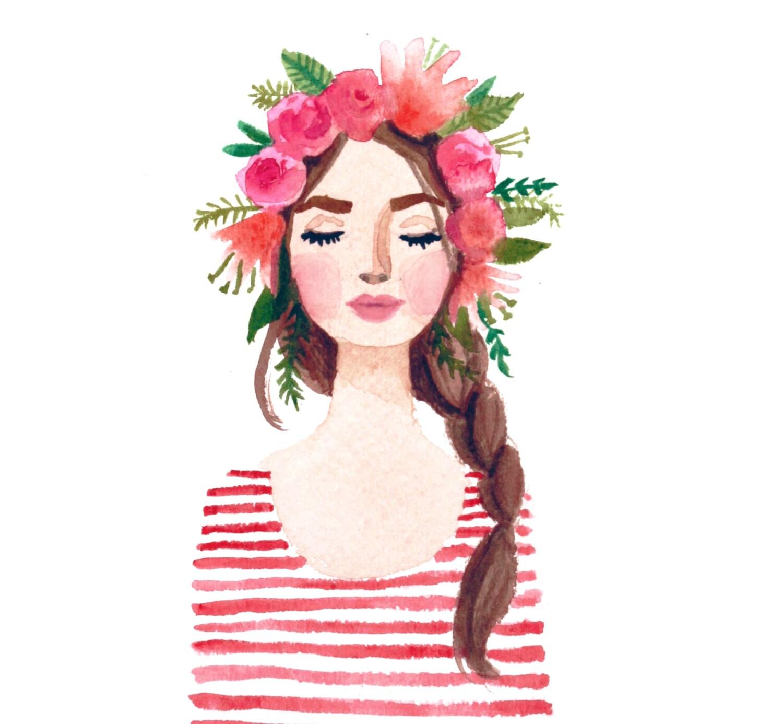 Print Of Flower Crown Girl Original Watercolor Painting Pink Etsy