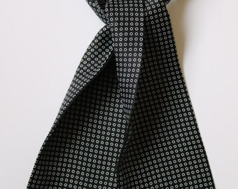 "Black & white Hand printed silk cravat 40"" X 5.5"""