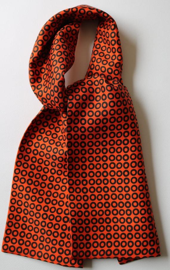 """Blue /& orange and white Rhombus hand printed silk cravat 39/"""" X 5/"""""""