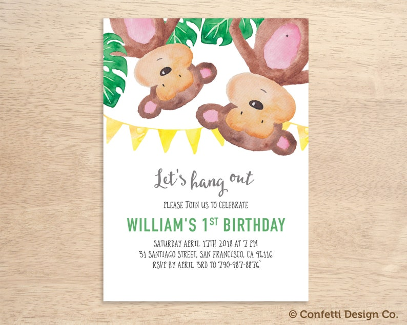 1st Birthday Monkey Invitation 2nd 3rd Party