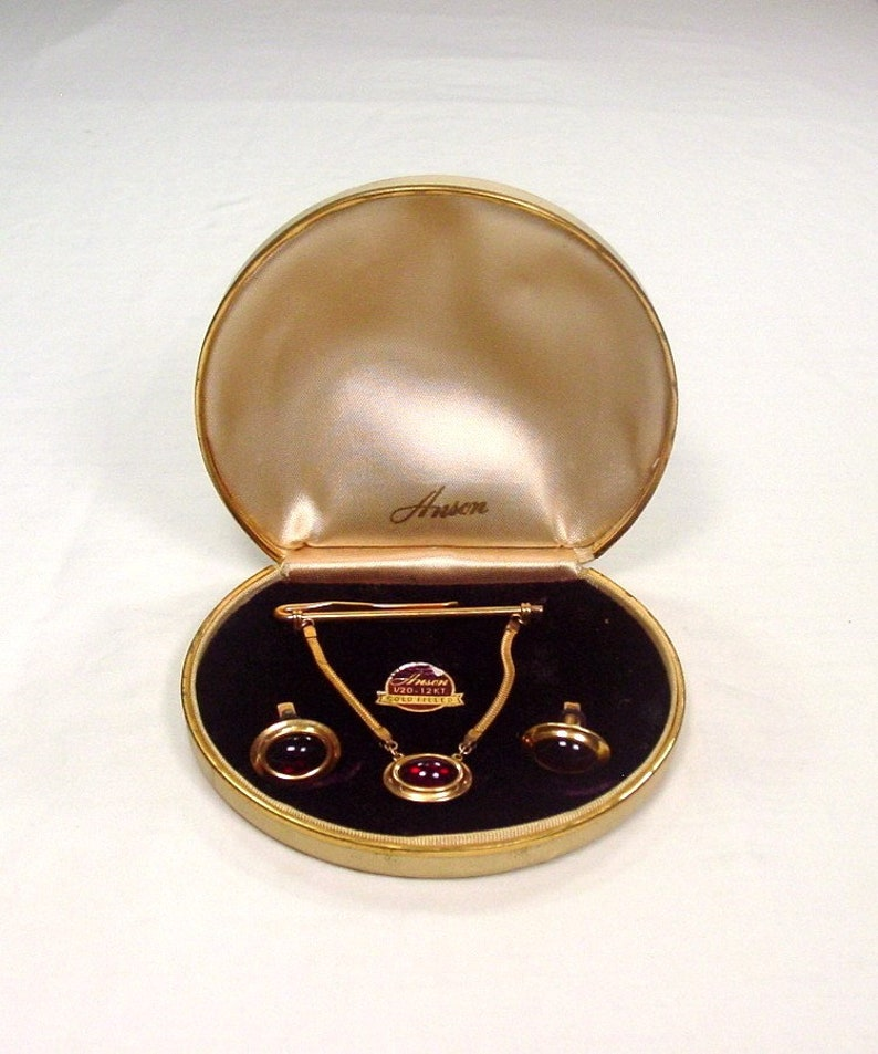 Anson Cufflinks and Tie Bar Set ~ Boxed ~ 120 12KT gold-filled ~ with Ruby Glass cabachons ~ 1960/'s ~ Vintage ~ Excellent!