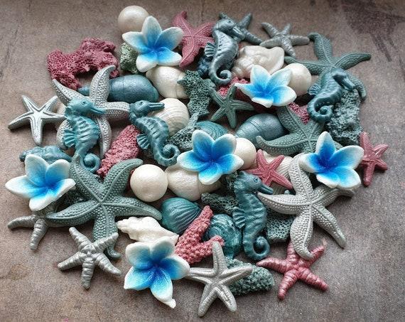 40 Edible sugar cake decorations shells starfish corals pearls plumeria cake cupcake toppers