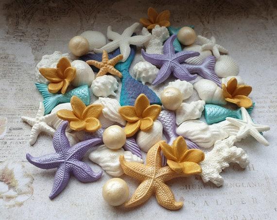 40 Edible sugar cake decorations shells starfish mermaid tails  corals pearls plumeria cake cupcake toppers