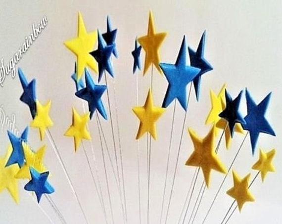24 edible sugar paste fondant stars on wires cake cupcake toppers decorations yellow royal blue