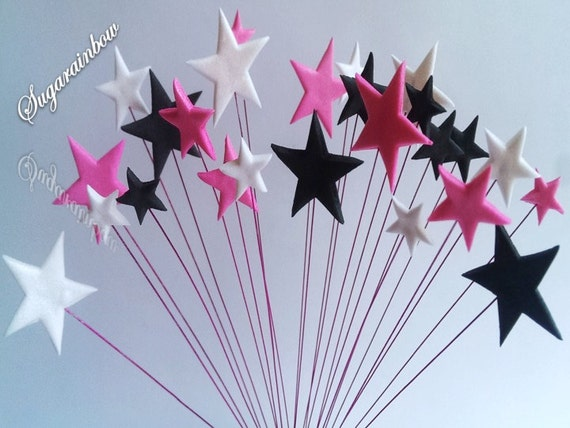 24 Edible sugar stars on wires wired cake cupcake toppers decorations