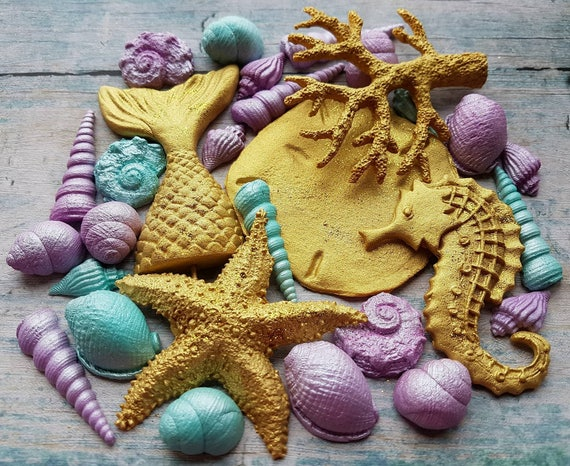 Edible fondant sugar LARGE mermaid tail sand dollar starfish coral shells beach party cake cupcake decorations toppers