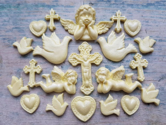 18 Edible sugar fondant crosses angels doves baby christening communion cake toppers decorations champagne
