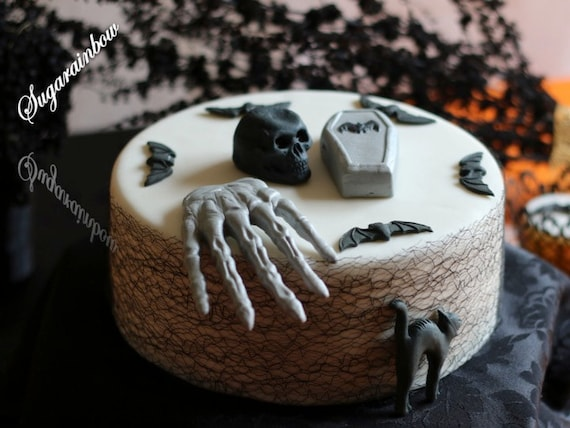 Edible sugar Halloween cake decorations coffin cat bats hand skull (3D) cake cupcake toppers decorations