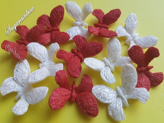 12 Edible sugar butterflies decorations  for cake cupcake toppers RED/WHITE
