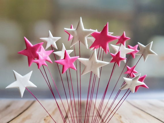 24 Edible sugar paste fondant stars on wires cake cupcake toppers decorations hot pink white