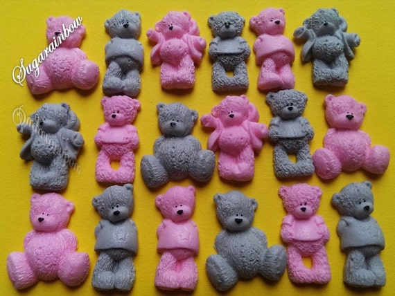24 Edible sugar AIRBRUSHED baby shower decorations teddy bears cake toppers