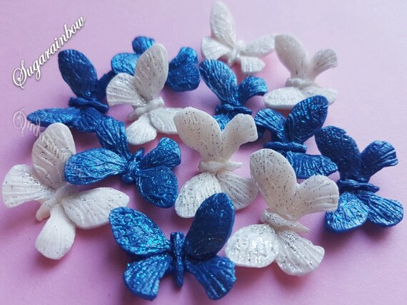 12 Edible sugar butterflies decorations  for cake cupcake toppers ROYAL BLUE/WHITE
