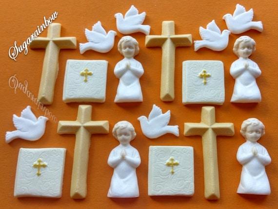 18 Edible Sugar Christening Communion Cross Dove Bible cake topper AIRBRUSHED