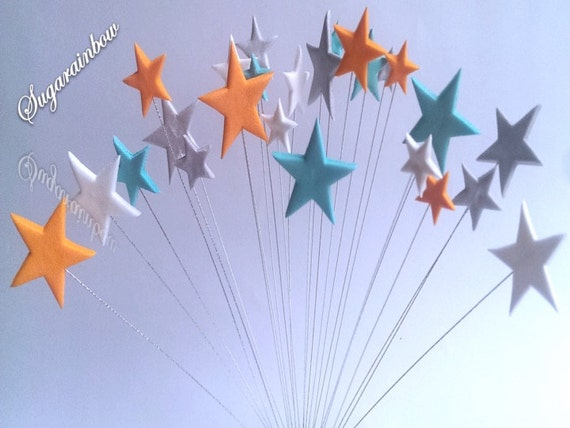 24 Edible sugar stars on wires wired cake decorations cupcake toppers