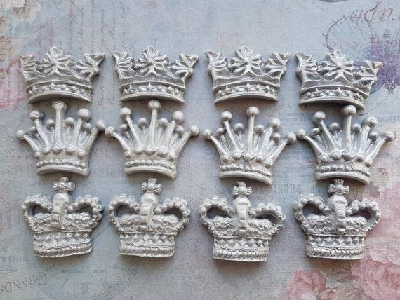 12 edible sugar paste fondant silver royal crowns tiara cupcake topper decorations