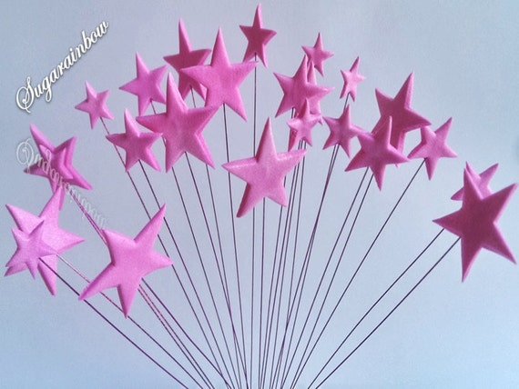 24 Edible sugar stars on wires wired cake cupcake toppers decorations deep pink theme