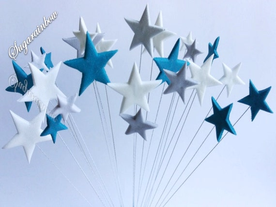 24 Edible sugar stars on wires wired cake decorations cupcake toppers Royal Blue/Silver/White
