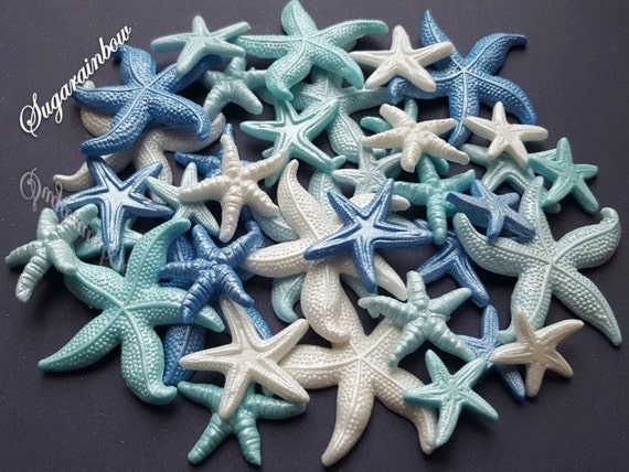 40 edible sugar fondant starfish sea stars cake topper cupcake decorations mermaid party blue