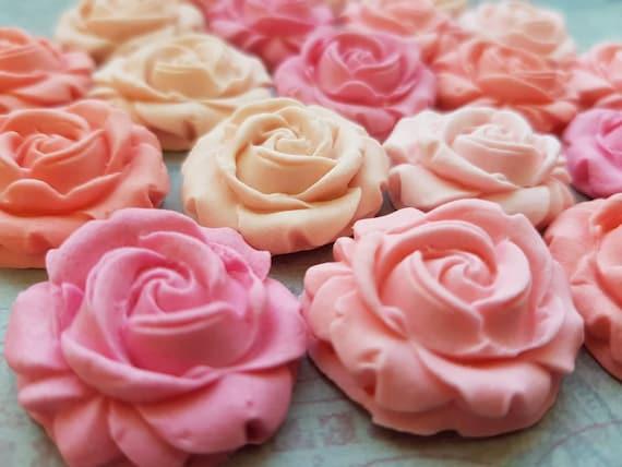 20 Edible sugar paste fondant roses flowers cake cupcake topper decorations