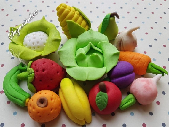 13 Edible sugar fruits vegetables cake cupcake toppers decorations kids party