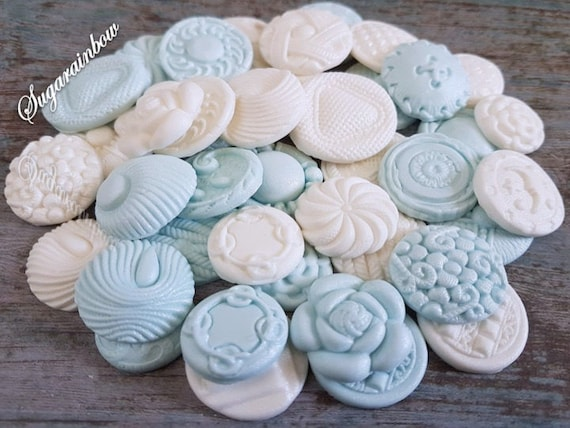40 Edible sugar paste fondant buttons cake cupcake toppers decorations baby blue/white (airbrushed pearl)