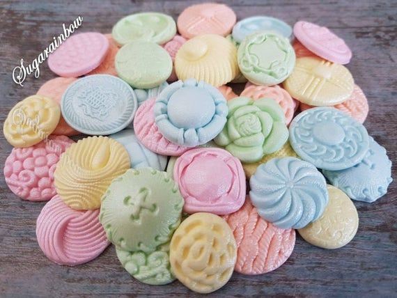 40 Edible sugar paste buttons cake cupcake toppers decorations pastel colours