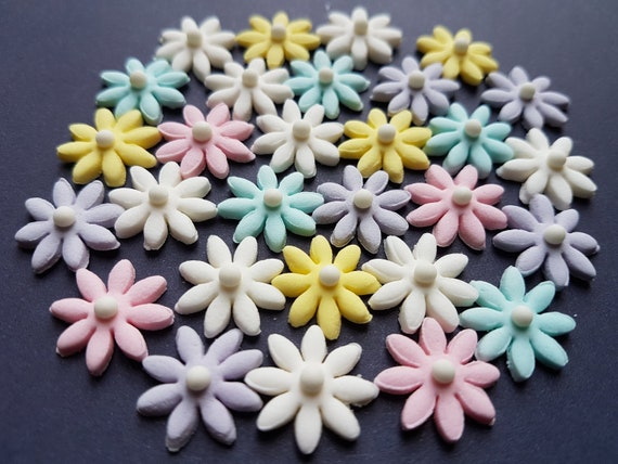 30 edible sugar paste fondant flowers daisies cake cupcake toppers decorations tiny