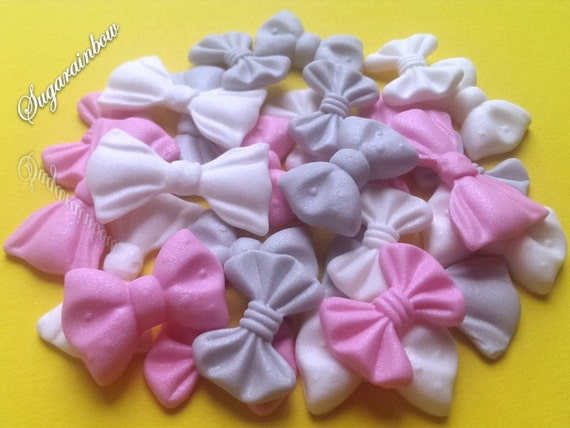 24 Edible sugar ribbons bows cake cupcake toppers decorations white deep pink silver