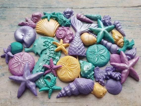 Edible sugar shells, fondant mermaid tail, sugar starfish, fondant starfish, fondant shell, gum paste shells, mermaid cake topper. SET of 41