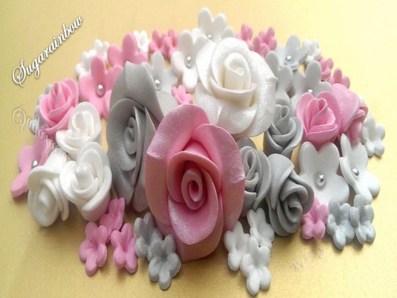 Glossy edible sugar roses flowers for cake cupcake toppers