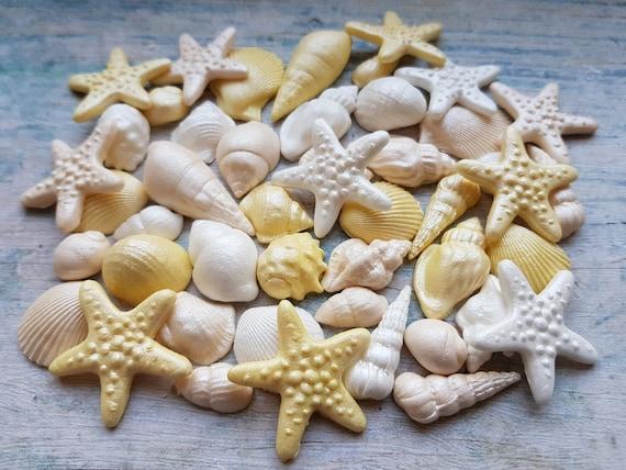 50 Edible sugar cake decorations shells sea stars cake cupcake toppers for beach wedding party mermaid cake