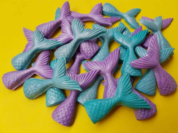 24 edible fondant  sugar mermaid tails beach party cake cupcake decorations toppers teal purple with pearl shimmer