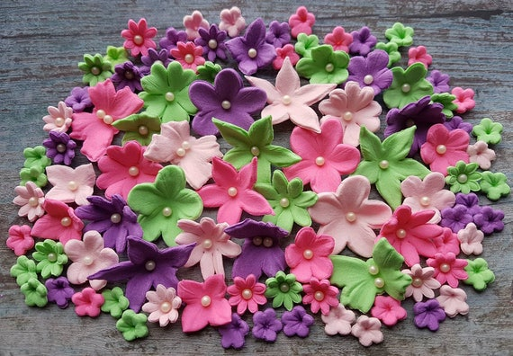 60 Edible sugar paste fondant flowers  butterflies  cake cupcake toppers decorations
