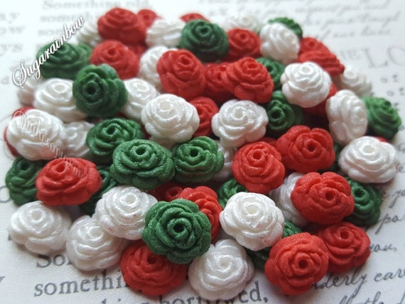 100 edible sugar gum paste fondant roses flowers cake cupcake topper decorations